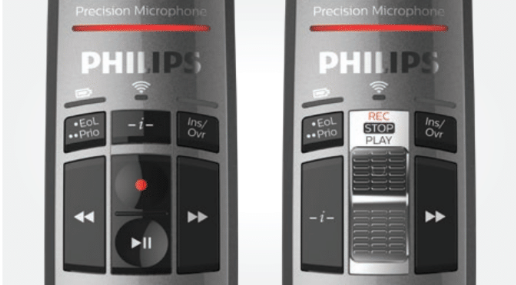 Slide control and push button wireless microphone for speech recognition